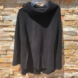 A New Day Black Cowl Neck Capelet Sweater one size